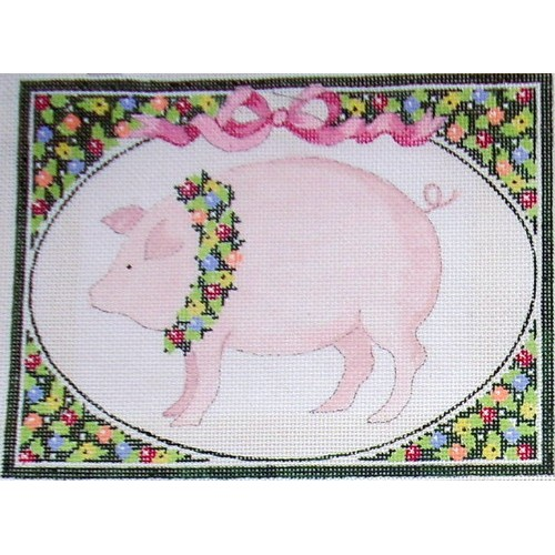 click here to view larger image of Country Wreath - Pig (hand painted canvases)