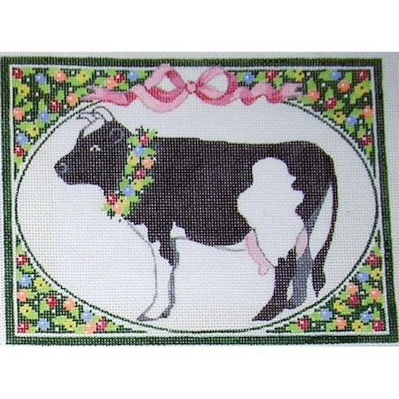 click here to view larger image of Country Wreath - Cow (hand painted canvases)