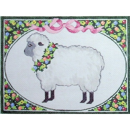 click here to view larger image of Country Wreath - Sheep (hand painted canvases)