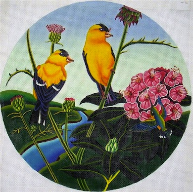 click here to view larger image of Finches & Thistle (hand painted canvases)