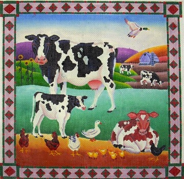 click here to view larger image of Cows & Chicken (hand painted canvases)