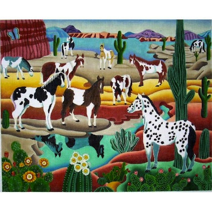 click here to view larger image of Desert Horses (hand painted canvases)