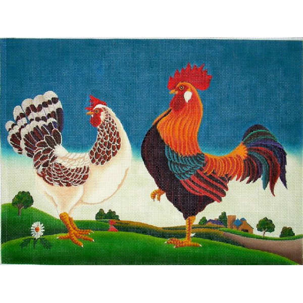 click here to view larger image of Hen & Rooster (hand painted canvases)