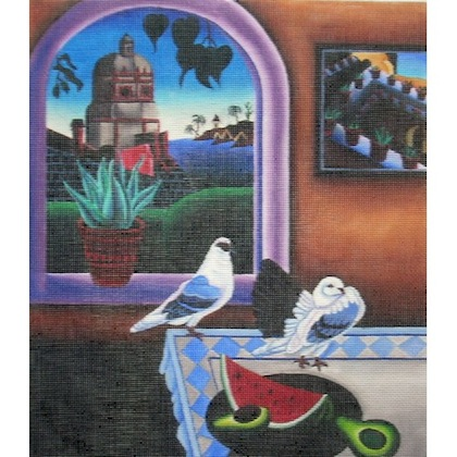 click here to view larger image of Patio Harbor Scene (hand painted canvases)