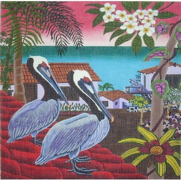 click here to view larger image of Pelicans (hand painted canvases)