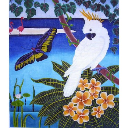 click here to view larger image of Cockatoo in Paradise (hand painted canvases)