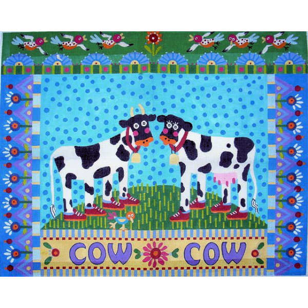 click here to view larger image of Cow Cow Rug (hand painted canvases)