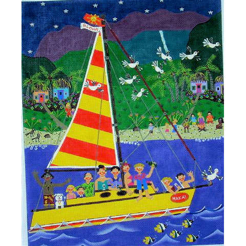 click here to view larger image of Aloha - Kids in Sailboat (hand painted canvases)