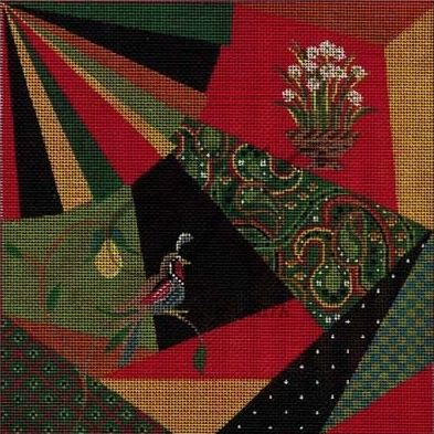 click here to view larger image of Christmas Crazy Quilt (hand painted canvases)
