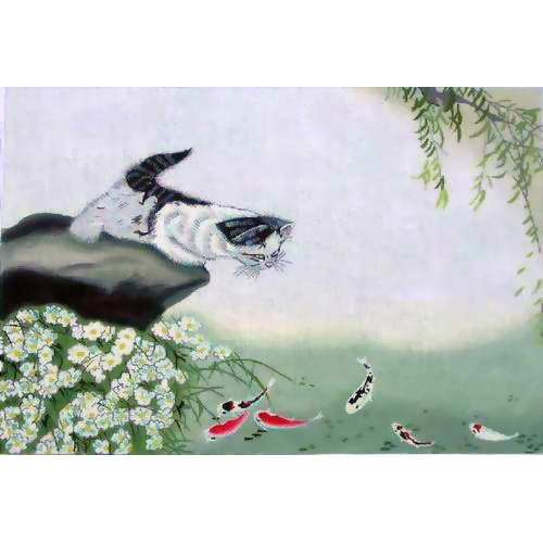 click here to view larger image of Cat & Koi Dinner (hand painted canvases)