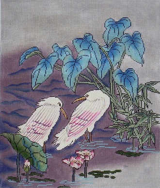 click here to view larger image of Egrets in Pond (hand painted canvases)