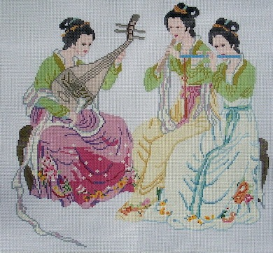 click here to view larger image of Interlude - 3 Ladies (hand painted canvases)