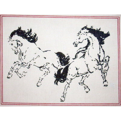 click here to view larger image of Let�s Dance - 2 Horses (hand painted canvases)