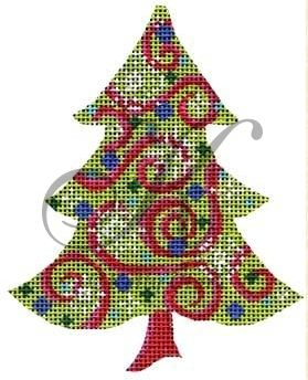 click here to view larger image of Chartreuse Snowflakes & Swirls Tree Stitch Guide (beads)