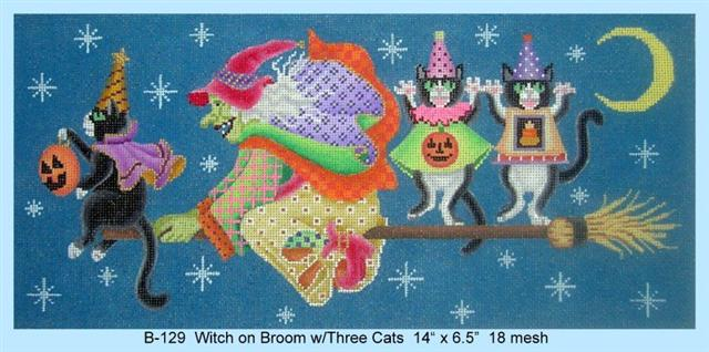 Witch on Broom w/Three Cats hand painted canvases