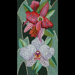 click here to view larger image of Jeweled Orchids (hand painted canvases)