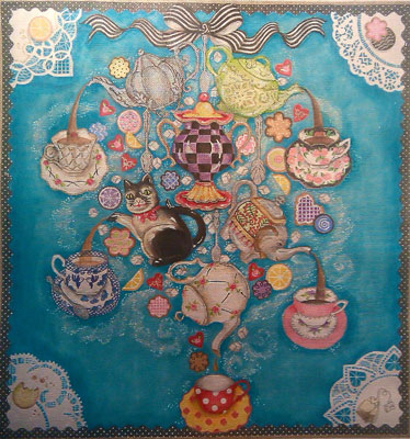 click here to view larger image of Mad Hatter Chandelier (hand painted canvases)
