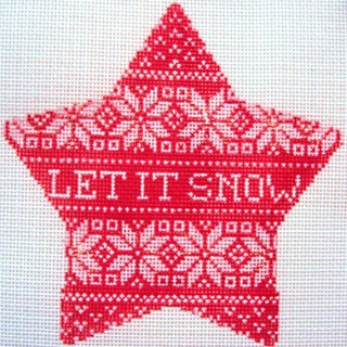 click here to view larger image of Nordic Let It Snow Xmas Star (hand painted canvases)