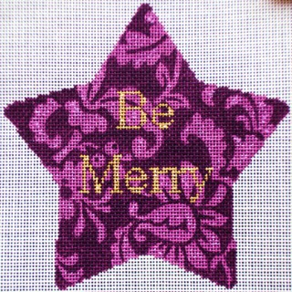 click here to view larger image of Be Merry Xmas Star (hand painted canvases)