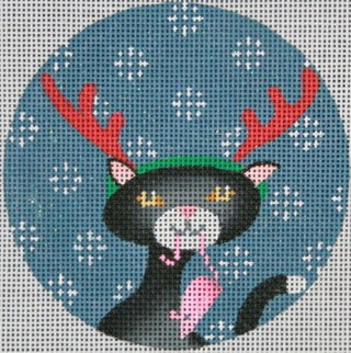click here to view larger image of Black Cat Christmas Circle (hand painted canvases)