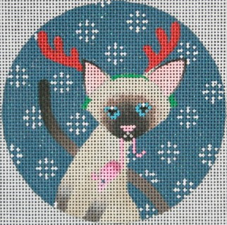 click here to view larger image of Siamese Cat Christmas Circle (hand painted canvases)