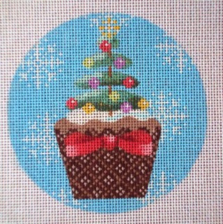 click here to view larger image of Christmas Cupcake Xmas Tree (hand painted canvases)