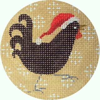click here to view larger image of Black Chicken Xmas Circle (hand painted canvases)