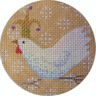 click here to view larger image of White Chicken Xmas Circle (hand painted canvases)