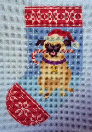 click here to view larger image of Pug Dog Mini Stocking (hand painted canvases)