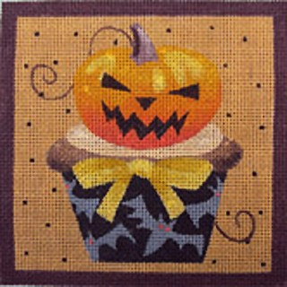 click here to view larger image of Pumpkin Halloween Cupcake (hand painted canvases)