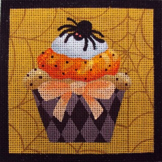 click here to view larger image of Spider Halloween Cupcake (hand painted canvases)