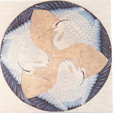 click here to view larger image of Blue Heron Round (hand painted canvases)
