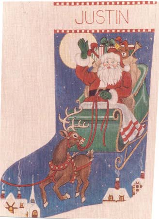 click here to view larger image of Santa's Ride Stocking (hand painted canvases)