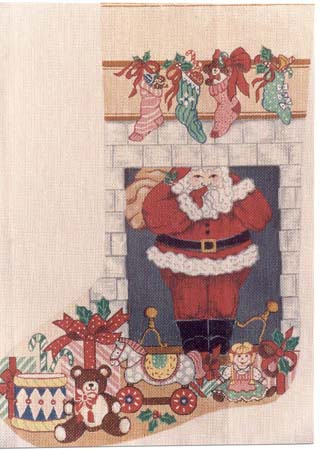 click here to view larger image of Santa in Chimney Stocking (hand painted canvases)