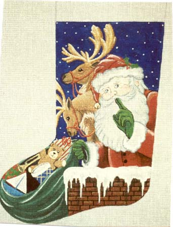 click here to view larger image of Shhh Santa with Deer Stocking (hand painted canvases)