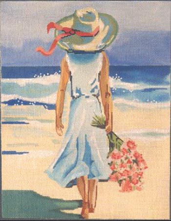 click here to view larger image of Girl at the Beach (hand painted canvases)