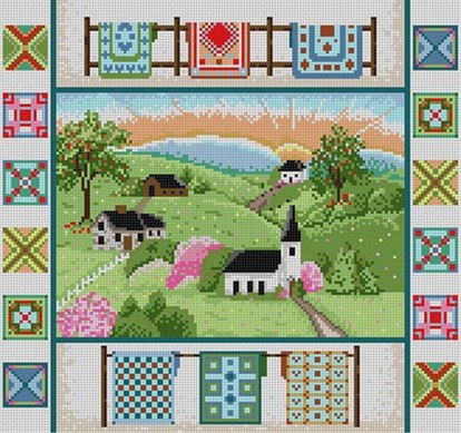 click here to view larger image of Country Quilts (hand painted canvases)