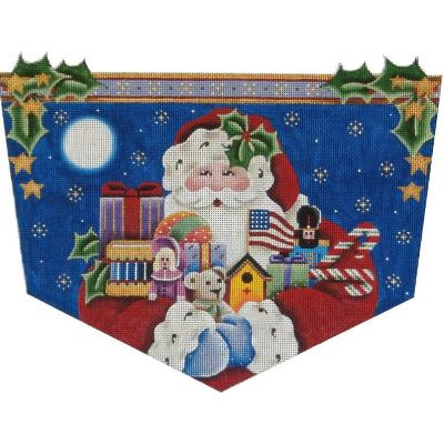click here to view larger image of American Santa Stocking Cuff - 13ct (hand painted canvases)