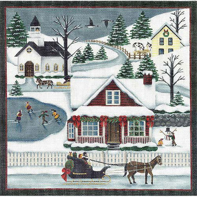 click here to view larger image of Winter Scene - 13ct (hand painted canvases)