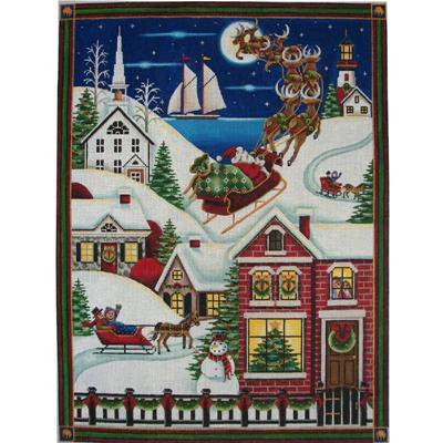 click here to view larger image of Christmas In The Village (hand painted canvases)