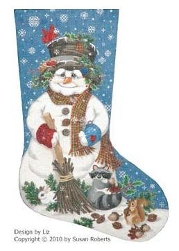 click here to view larger image of Woodland Snowman Stocking - 13ct (hand painted canvases)