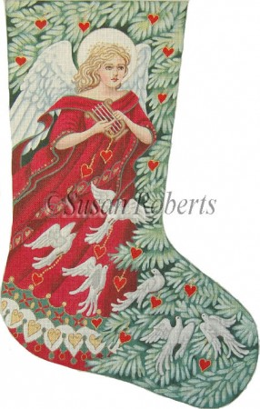 click here to view larger image of Angel w/Doves Stocking (hand painted canvases)