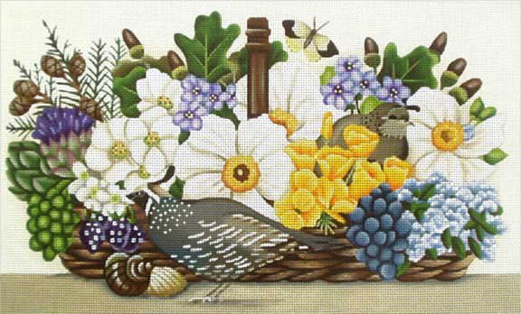 click here to view larger image of California Basket Bouquet (hand painted canvases)