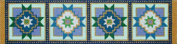 click here to view larger image of Blue Star Ornament Border (hand painted canvases)