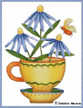 click here to view larger image of Blue Daisy Cup (hand painted canvases)