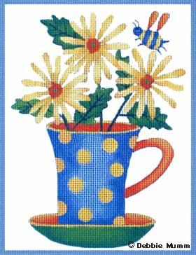 click here to view larger image of Daisy Blue Cup (hand painted canvases)