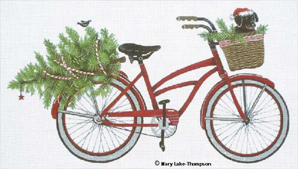 click here to view larger image of Christmas Bike (hand painted canvases)