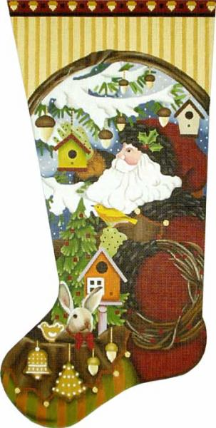 click here to view larger image of Big Wild Wood Santa Stocking (hand painted canvases)