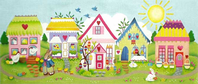 click here to view larger image of Easter Village (hand painted canvases)