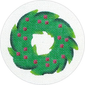 click here to view larger image of Christmas Wreath Ornament (hand painted canvases)